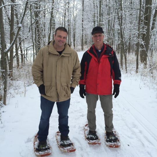 Discover Wisconsin's Eric Paulsen snowshoes at Sheboygan's Maywood Environmental Park.