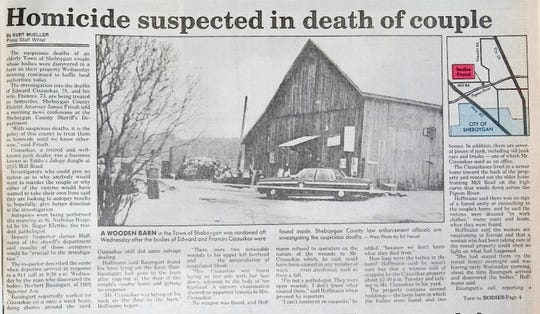 A wooden barn in the Town of Sheboygan was cordoned off Wednesday after the bodies of Edward and Frances Cizauskas were found inside. Sheboygan Conty law enforcement officials are investigating the suspicious details. Photo by Bill Nowak/The Sheboygan Press
