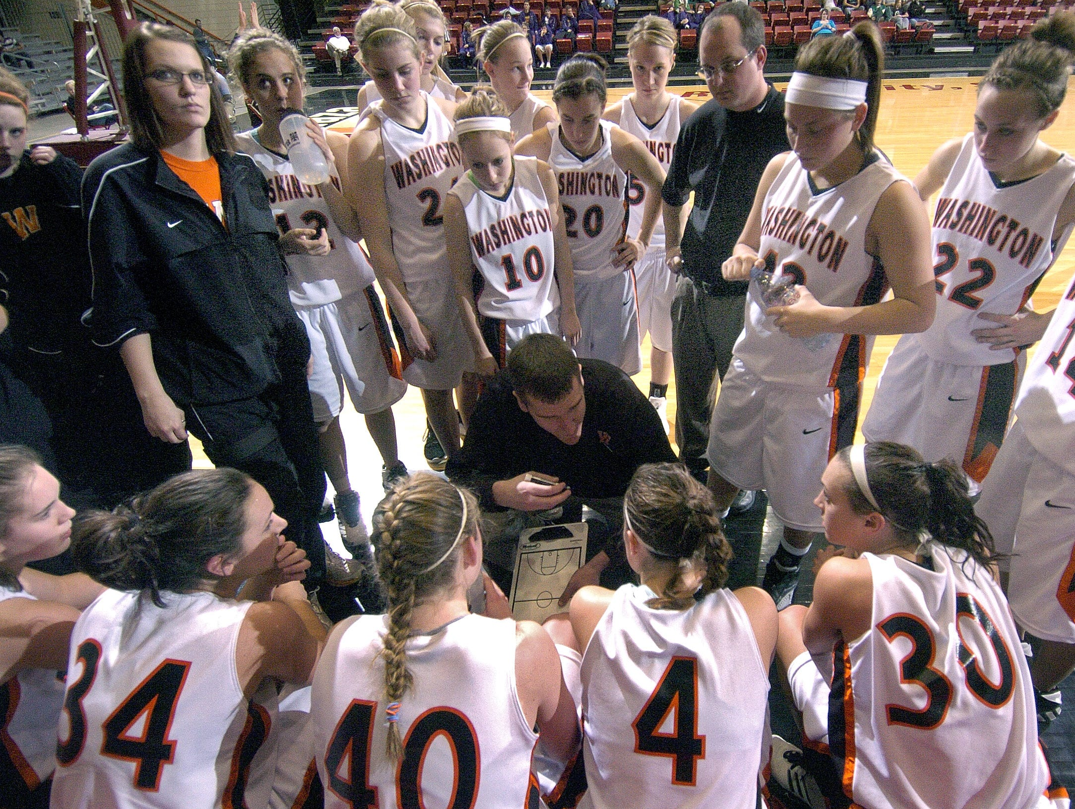 Washington coach Nate Malchow talks to his players during a time out. (Lloyd B. Cunningham/Argus Leader) 6 March 2008