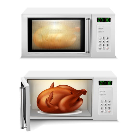 Vector Microwave With Roasted Turkey Or Chicken