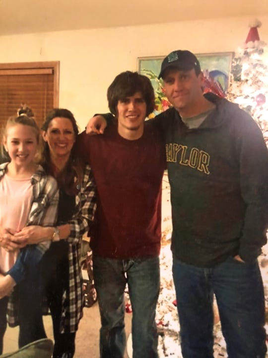 This is Shea Blasingim's family. Shea died from a fentanyl overdose at age 24.  Pictured are his little sister, Sofia; mom, Amy and dad, Joe Blasingim.