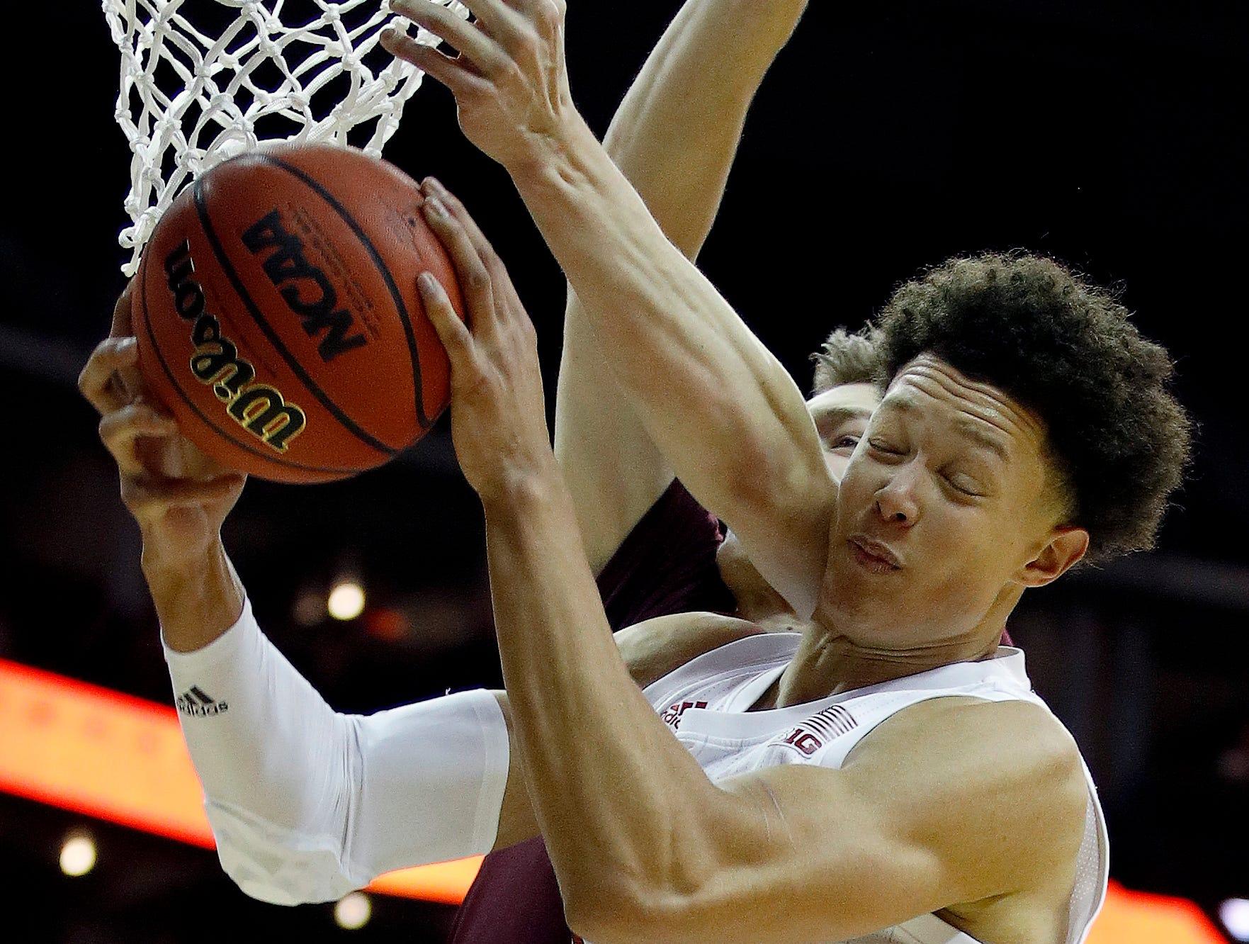 Nebraska's Isaiah Roby (15) beats Missouri State's Szymon Wojcik to a rebound during the second half of an NCAA college basketball game Monday, Nov. 19, 2018, in Kansas City, Mo. Nebraska won the game 85-62. (AP Photo/Charlie Riedel)