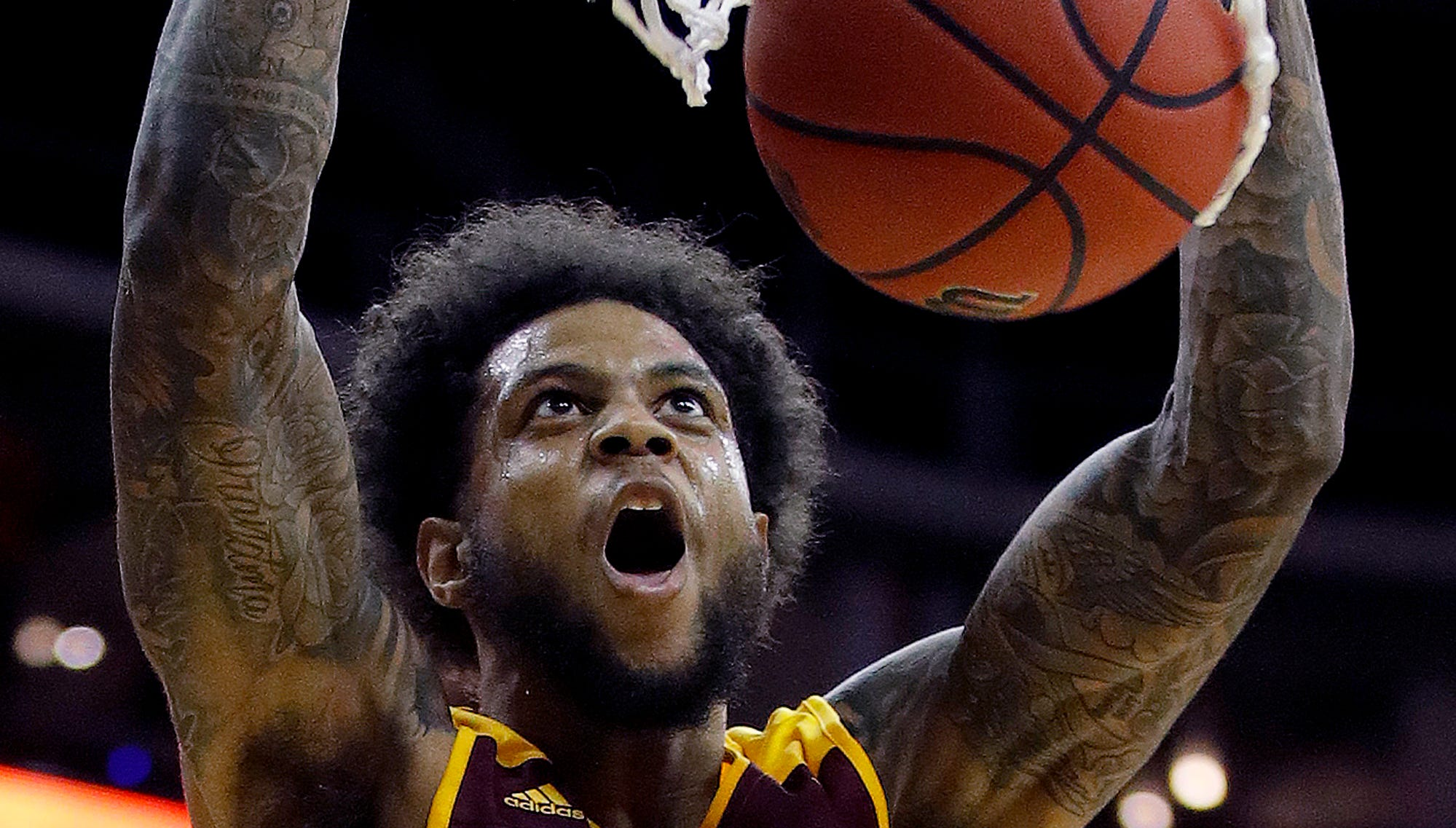 Missouri State's Obediah Church dunks during the second half of an NCAA college basketball game against Nebraska, Monday, Nov. 19, 2018, in Kansas City, Mo. (AP Photo/Charlie Riedel)