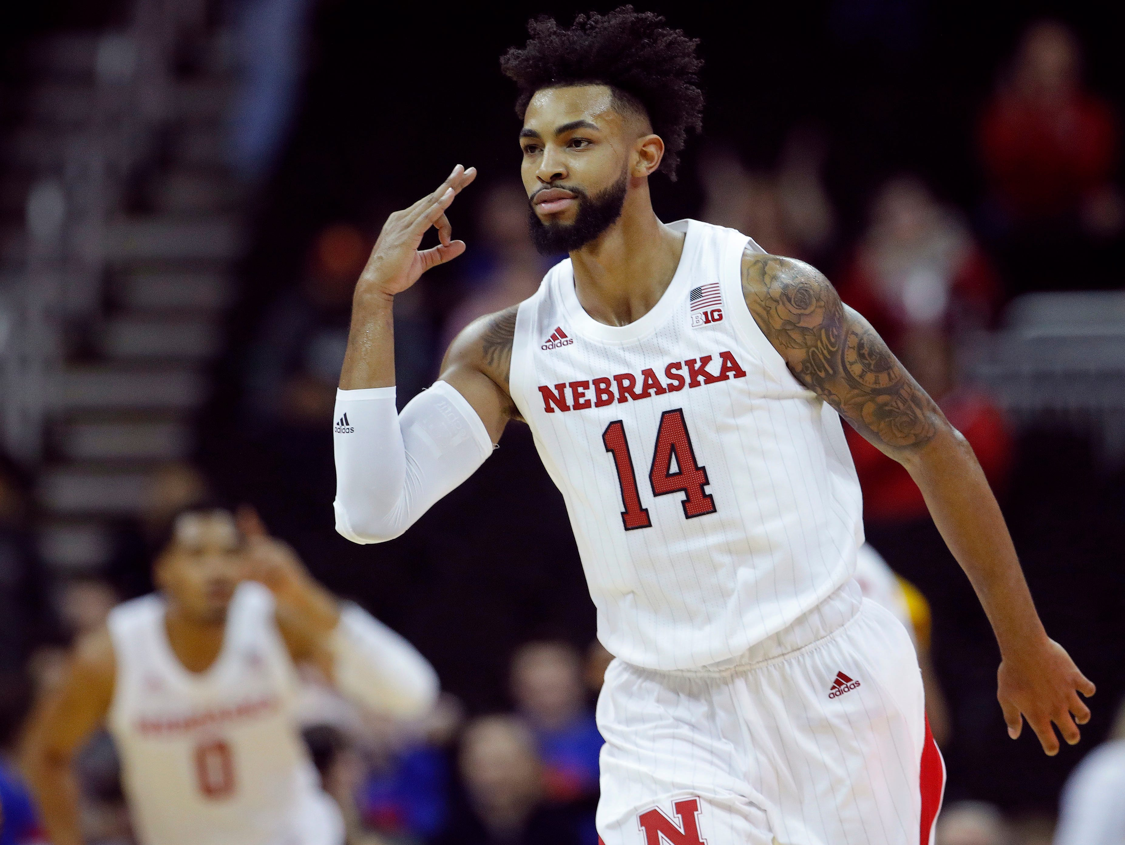 Nebraska's Isaac Copeland Jr. (14) celebrates after making a basket during the second half of an NCAA college basketball game against Missouri State, Monday, Nov. 19, 2018, in Kansas City, Mo. (AP Photo/Charlie Riedel)