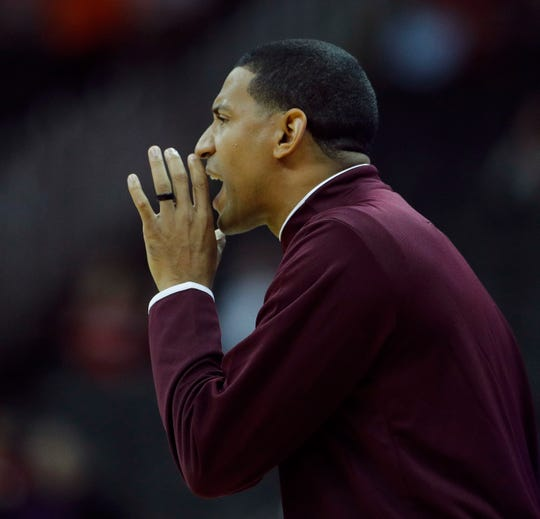 Missouri State head coach Dana Ford talks to his team during the first half of an NCAA college basketball game against Nebraska Monday, Nov. 19, 2018, in Kansas City, Mo. (AP Photo/Charlie Riedel)
