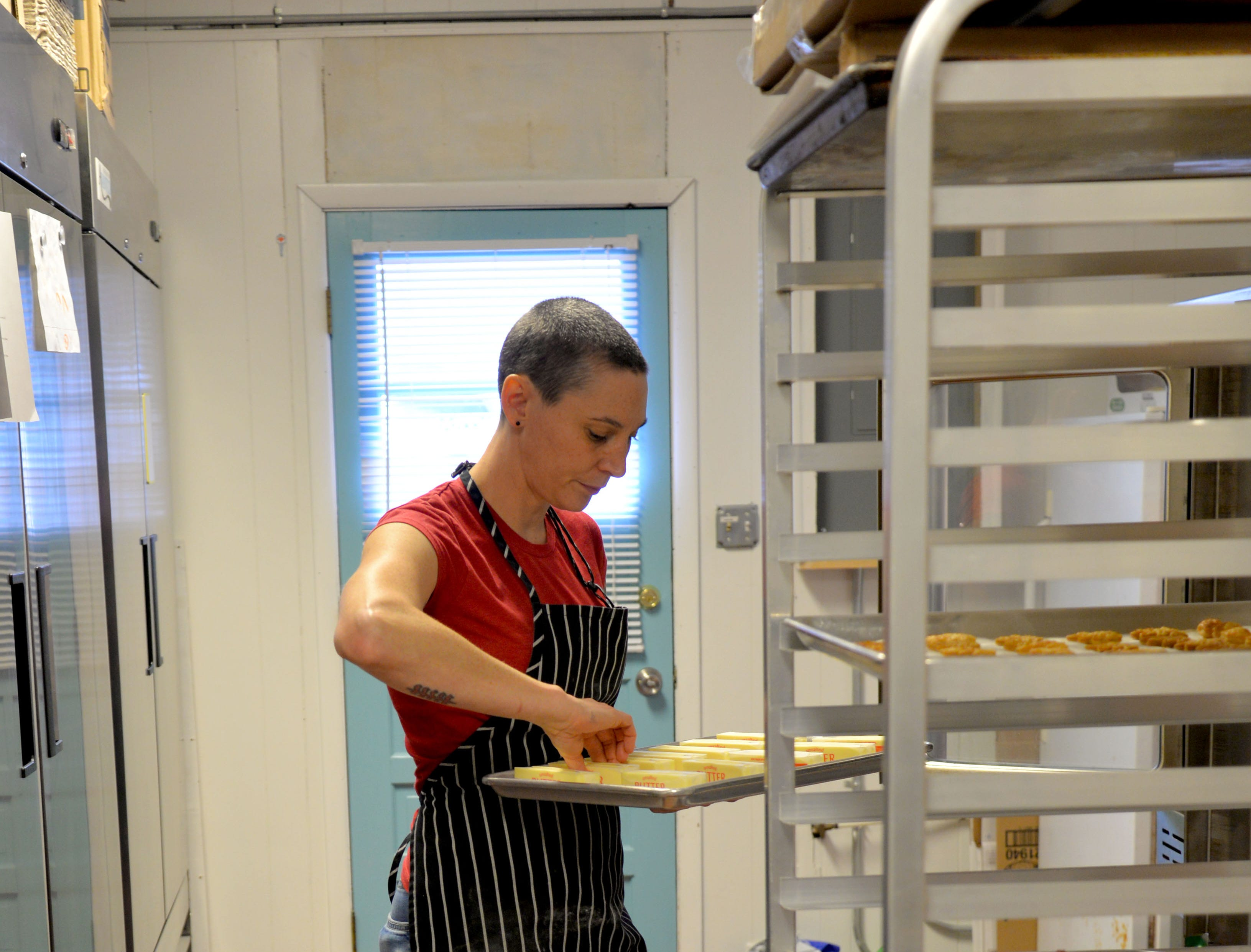 Jane Firkin, of Firkin Pie in Staunton, prepares for a big Thanksgiving order on Tuesday, Nov. 20, 2018. She opened her shop on Kalorama Street in March.