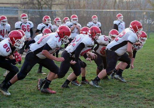 The offensive unit for Riverheads' football team goes through a drill during practice on Monday, Nov. 19, 2018, at Riverheads High School in Greenville, Va. The Gladiators host William Campbell in the VHSL Class 1, Region B final on Friday.