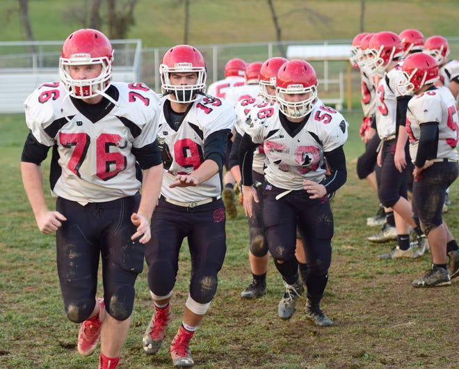 Linemen for Riverheads' football team go through a drill during practice on Monday, Nov. 19, 2018, at Riverheads High School in Greenville, Va. The Gladiators host William Campbell in the VHSL Class 1, Region B final on Friday.