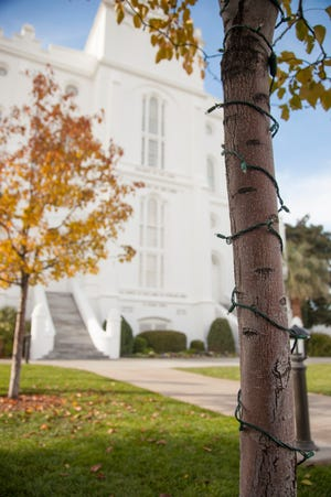 Christmas lights have been strung on the grounds of the St. George LDS Temple. They will be turned on during a ceremony Nov. 23, 2018.