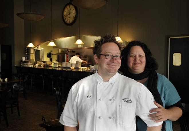 Chef Christian Czerwonka and his wife Leah, owners of Christian's Bistro in Plover talk Monday afternoon February 27, 2012, about taking over ownership of Cafe 27 and re-opening it in May as Father Fat's Public House. (DOUG WOJCIK/STEVENS POINT JOURNAL)
