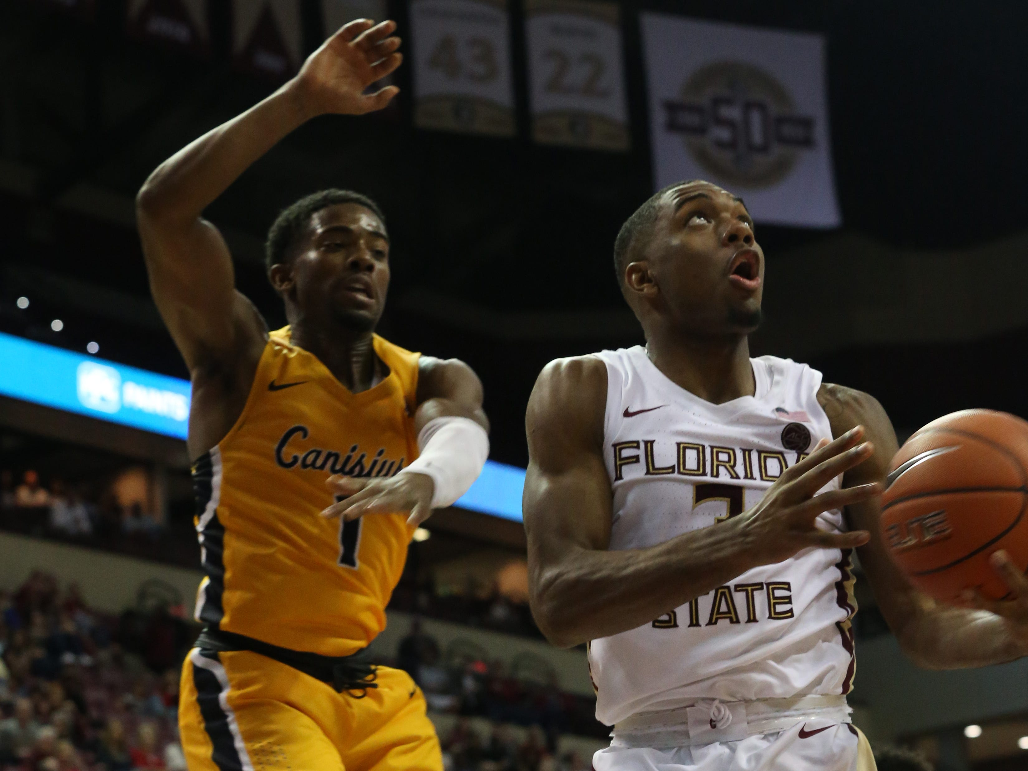 Florida State Seminoles guard Trent Forrest (3) goes for a layup as the Florida State Seminoles host the Canisius Golden Griffins for basketball in the Tucker Civic Center, Monday, Nov. 19, 2018.