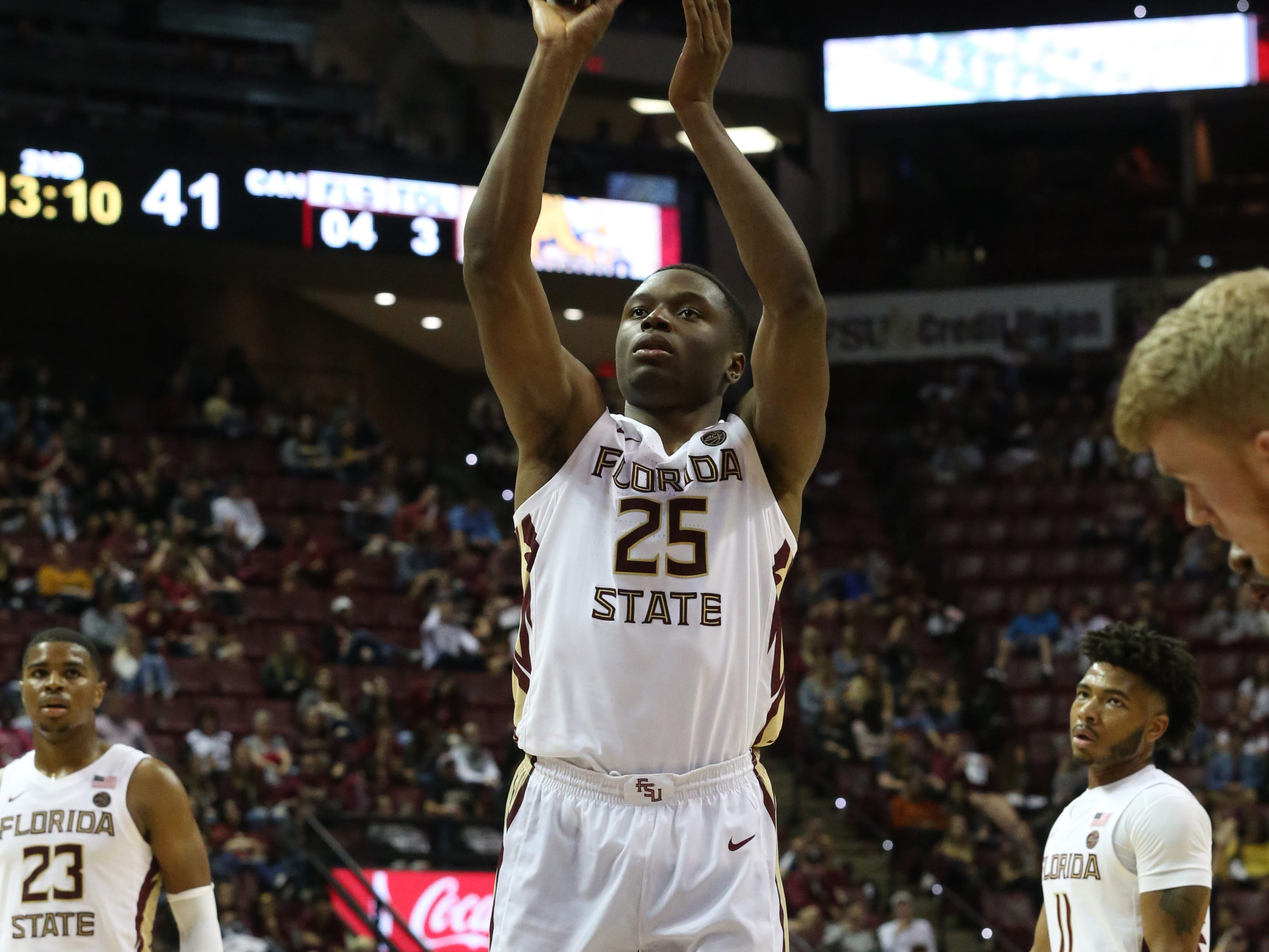 Florida State Seminoles forward Mfiondu Kabengele (25) shoots a free throw as the Florida State Seminoles host the Canisius Golden Griffins for basketball in the Tucker Civic Center, Monday, Nov. 19, 2018.