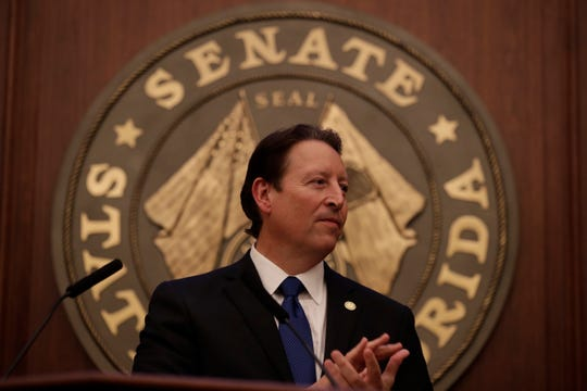 Newly elected Senate President Bill Galvano speaks during the Senate organizational session at the Florida State Capitol Tuesday, Nov. 20, 2018.