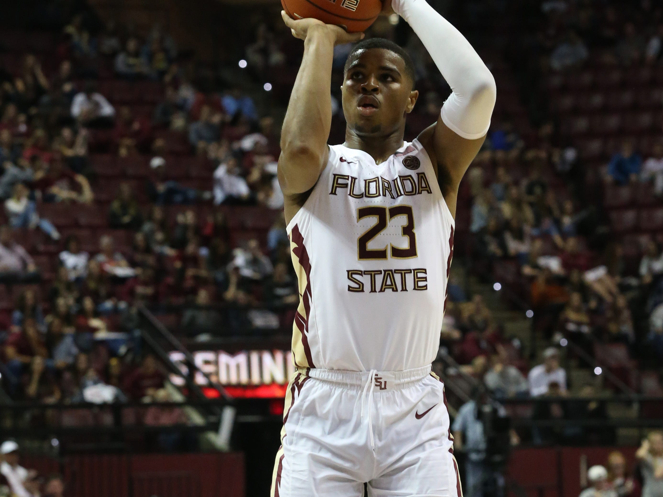 Florida State Seminoles guard M.J. Walker (23) shoots a free throw as the Florida State Seminoles host the Canisius Golden Griffins for basketball in the Tucker Civic Center, Monday, Nov. 19, 2018.