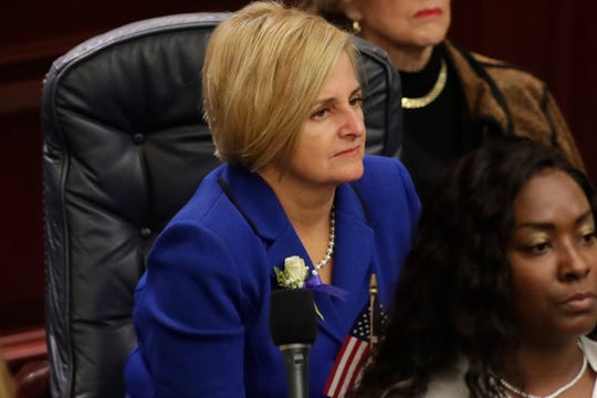 Rep. Loranne Ausley (D-Tallahassee) sits at her desk during the House of Representatives organizational session at the Florida State Capitol Tuesday, Nov. 20, 2018.