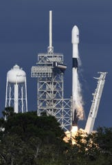 A SpaceX Falcon 9 rocket lifts off from Kennedy Space Center's pad 39A with a Qatari communications satellite on Thursday, Nov. 15, 2018, in Brevard County.