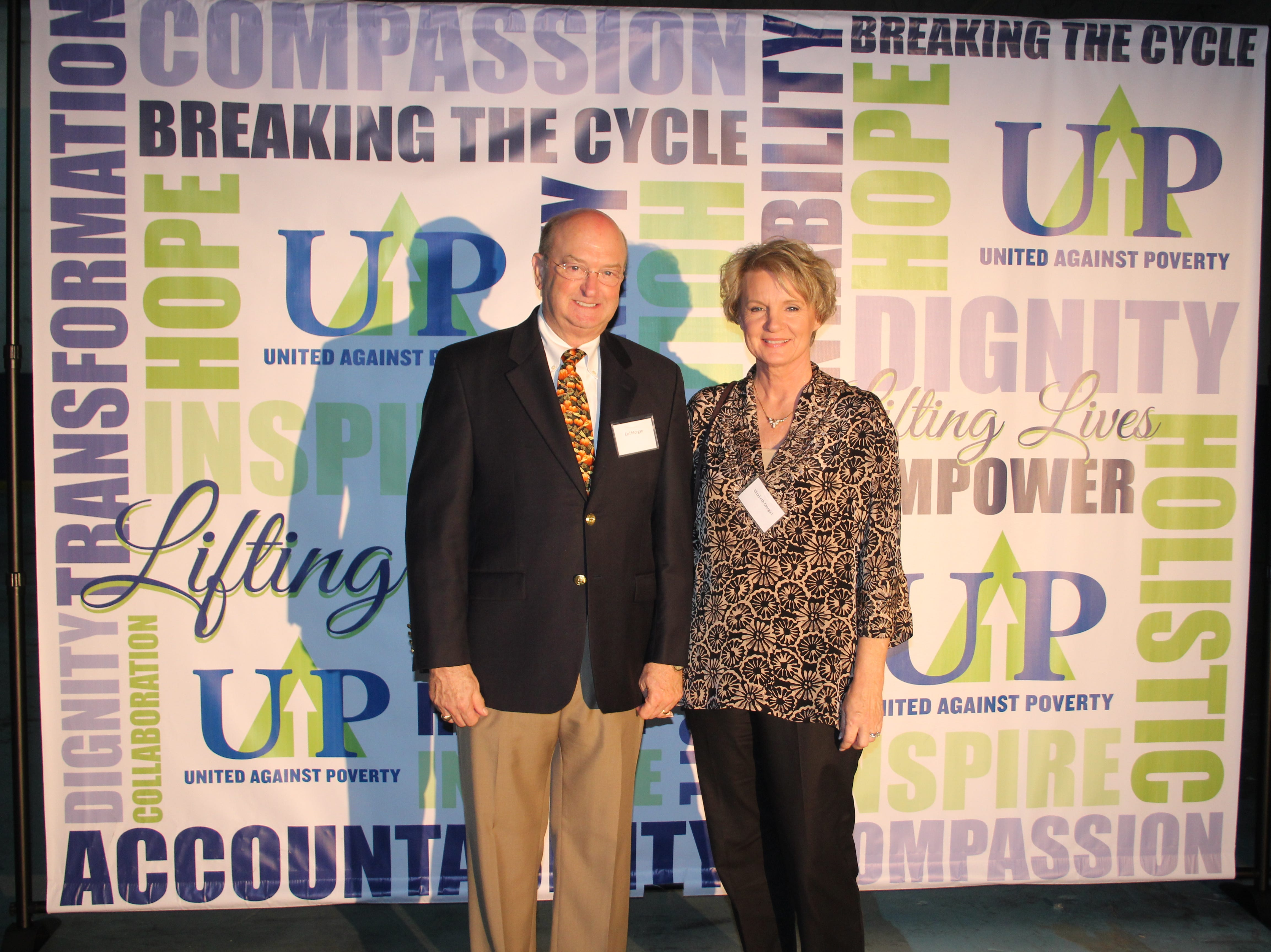 Earl and Elizabeth Morgan at United Against Poverty's Lifting Lives Out of Poverty Capital Campaign kick-off for Phase II.