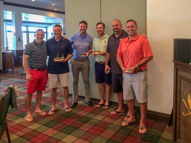 There was a tie between two foursomes for first place. The outstanding golfers included, from left, Nick Chillemi, Tom Bacon, Tad Sacheck, Mike Connors, Vince Chillemi and Tony Chillemi. Not pictured are Dana Quigley ad Pastor Shaun Blakeney.