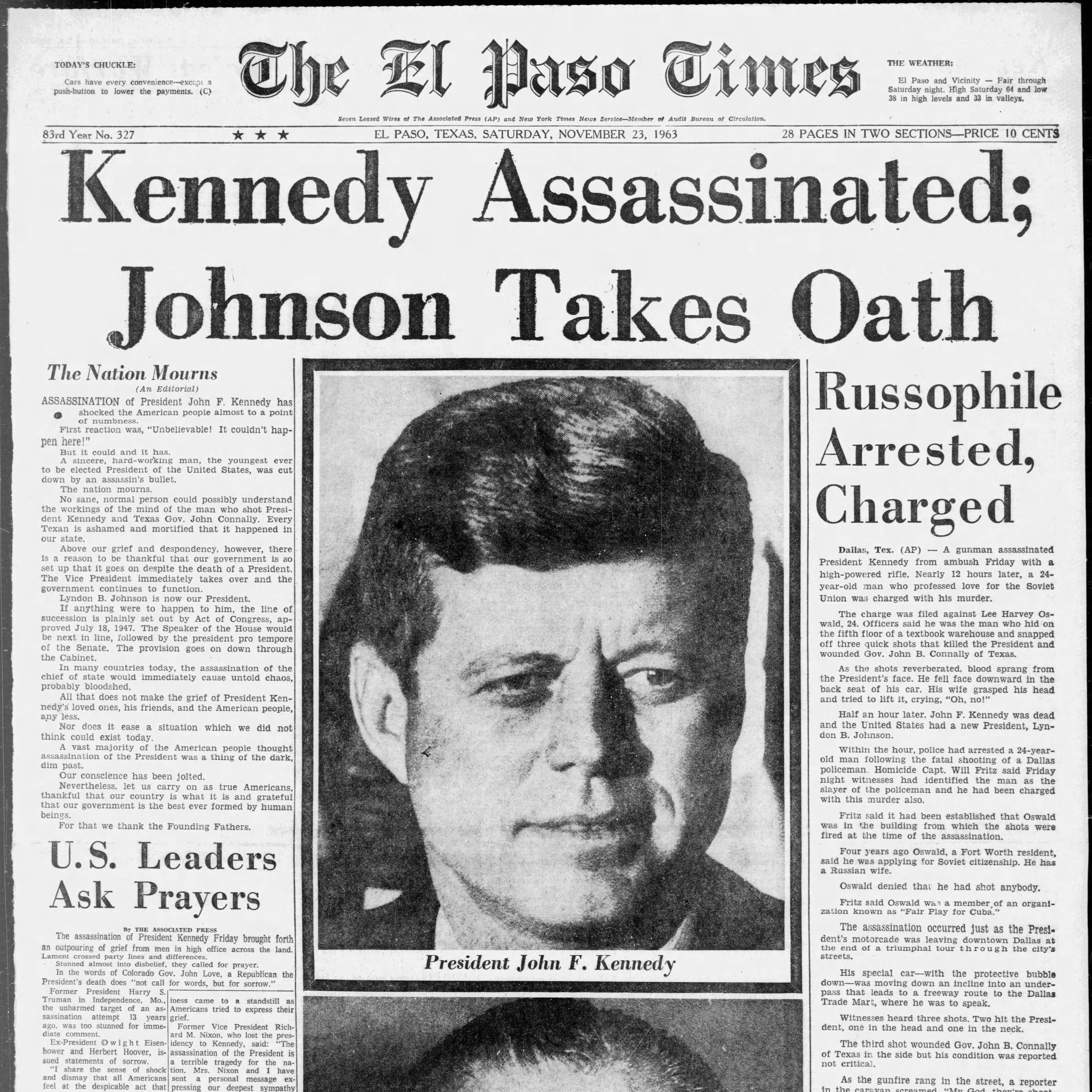 President Kennedy assassination stunned El Pasoans, closed border