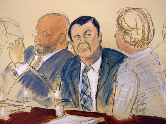"""In this courtroom sketch Joaquin """"El Chapo"""" Guzman, center, sits next to his defense attorney Eduardo Balarezo, left, for opening statements as Guzman's high-security trial gets underway in the Brooklyn borough of New York on Tuesday, Nov. 13, 2018. Guzman pleaded not guilty to charges that he amassed a multibillion-dollar fortune smuggling tons of cocaine and other drugs in a vast supply chain that reached New York, New Jersey, Texas and elsewhere north of the border. The infamous Mexican drug lord has been held in solitary confinement since his extradition to the United States early last year."""