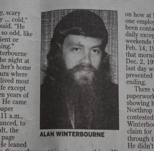 A newspaper clipping shows Alan Winterbourne, the unemployed Ventura man who shot and killed four people on Dec. 2, 1993.
