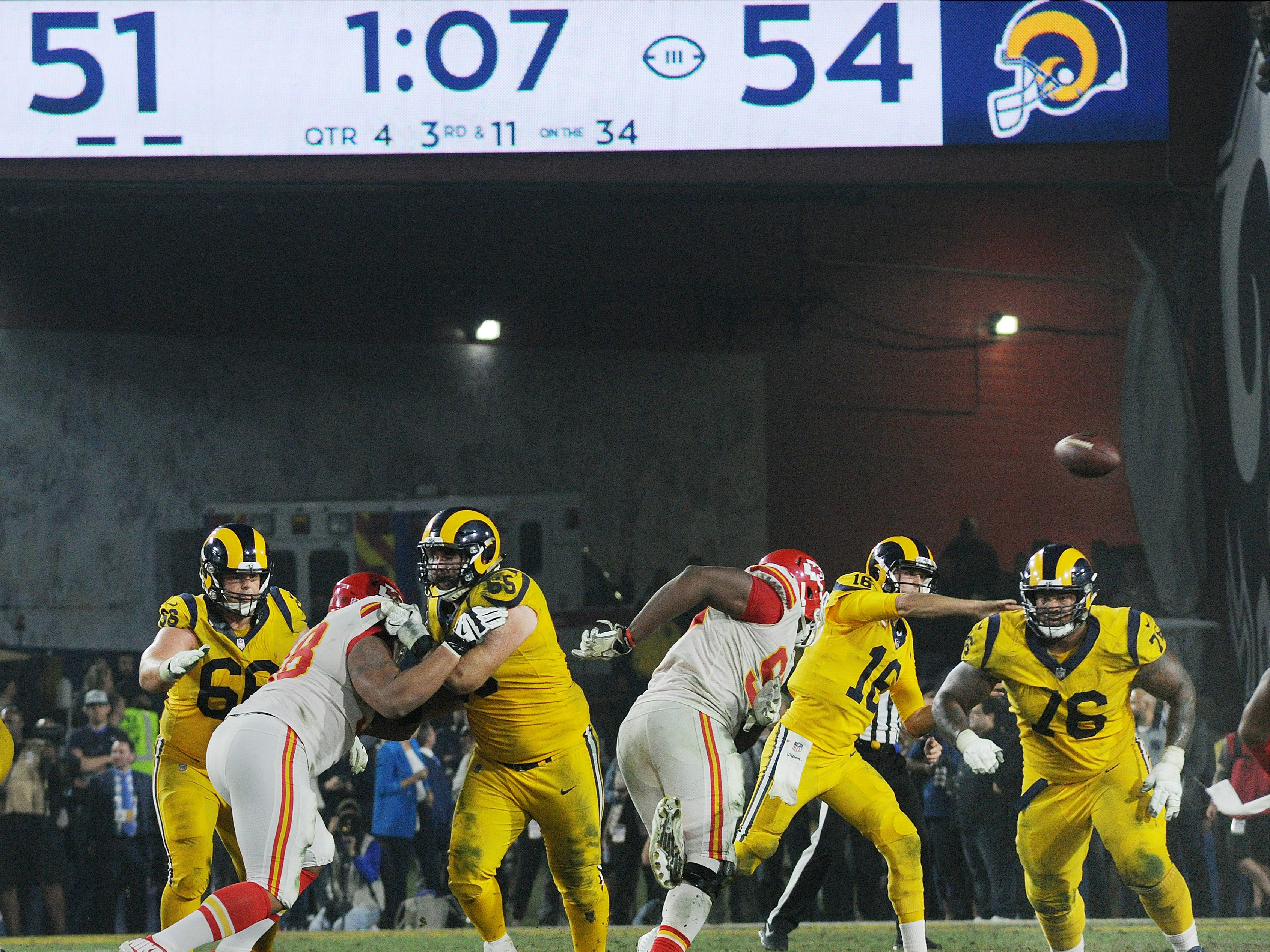 Quarterback Jared Goff throws a pass with 1:09 left in the game during the Rams' 54-51 win over the Chiefs on Monday night.