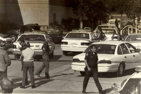 Authorities investigated a deadly shooting at the Employment Development Department building in Oxnard in December 1993.