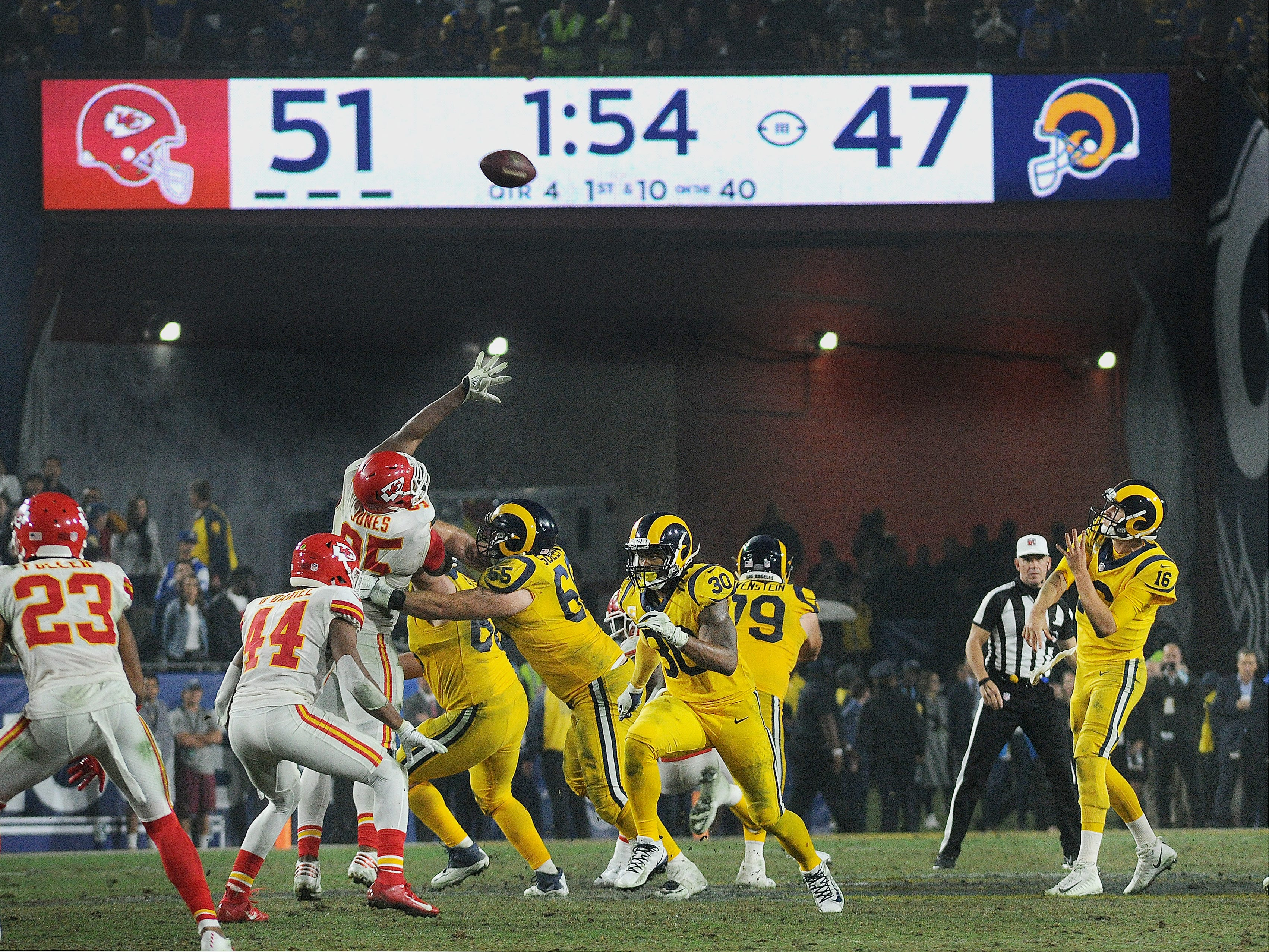 Rams quarterback Jared Goff, right, throws the winning touchdown pass to Gerald Everett with 1:54 left in the game against the Kansas City Chiefs on Monday night. The Rams won 54-51. The combined points was the third highest scoring game in NFL history and the highest scoring game for a Monday night game.