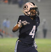 Central Valley Christian's Jaalen Rening celebrates after a play during the Central Section Division IV playoff on November 16, 2018.
