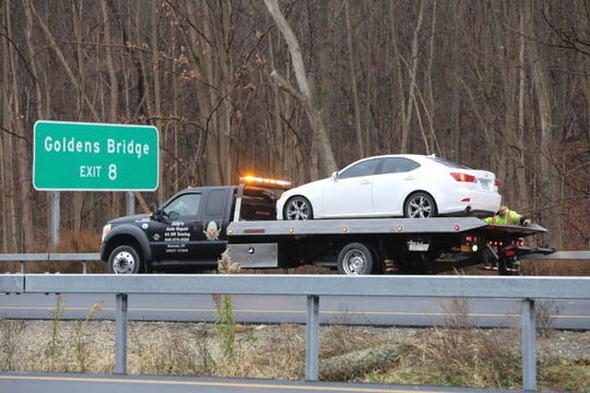 A car was towed from Interstate 684 near Exit 8 in North Salem, where state police responded to a road-rage incident on Nov. 20, 2018.