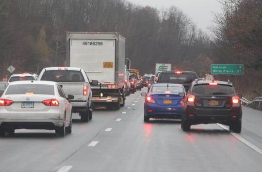 Multiple vehicles were involved in multiple crashes on southbound Interstate 684 near Goldens Bridge, shutting lanes and backing up traffic for miles on Tuesday, Nov. 20, 2018.