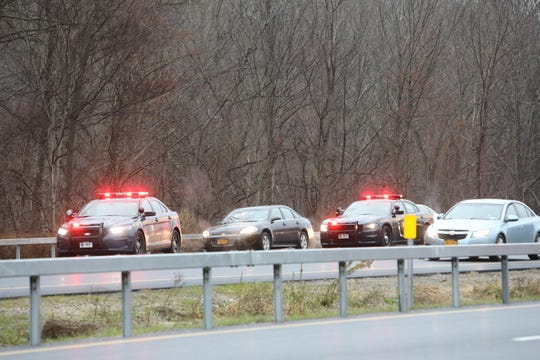 State troopers respond to a road-rage incident near Exit 8 on Interstate 684 in North Salem on Nov. 20, 2018.