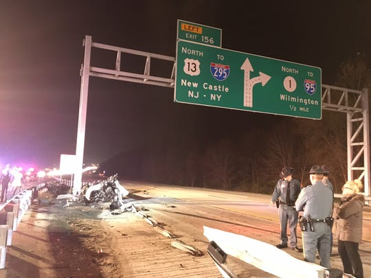 James Warrington II and Miles Hunt died on Monday night in a car crash on Del. 1 near Wrangle Hill Road. State police said their vehicle went airborne, hit a road sign and split in half, killing both.