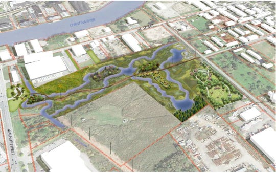 A rendering of the planned wetland park in Wilmington's Southbridge neighborhood