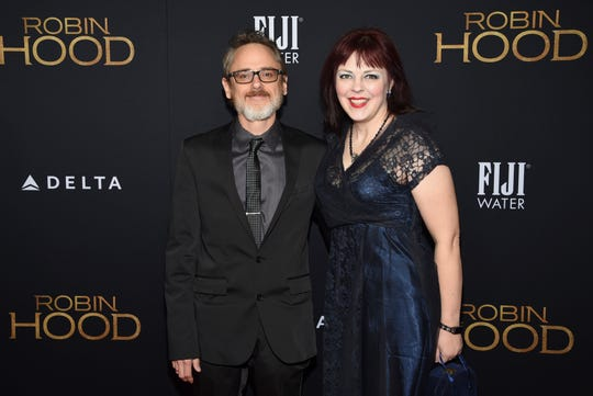 "Screenwriter David James Kelly and his wife Evangeline attend a special screening of ""Robin Hood"" at AMC Loews Lincoln Square on Sunday, Nov. 11, 2018, in New York."