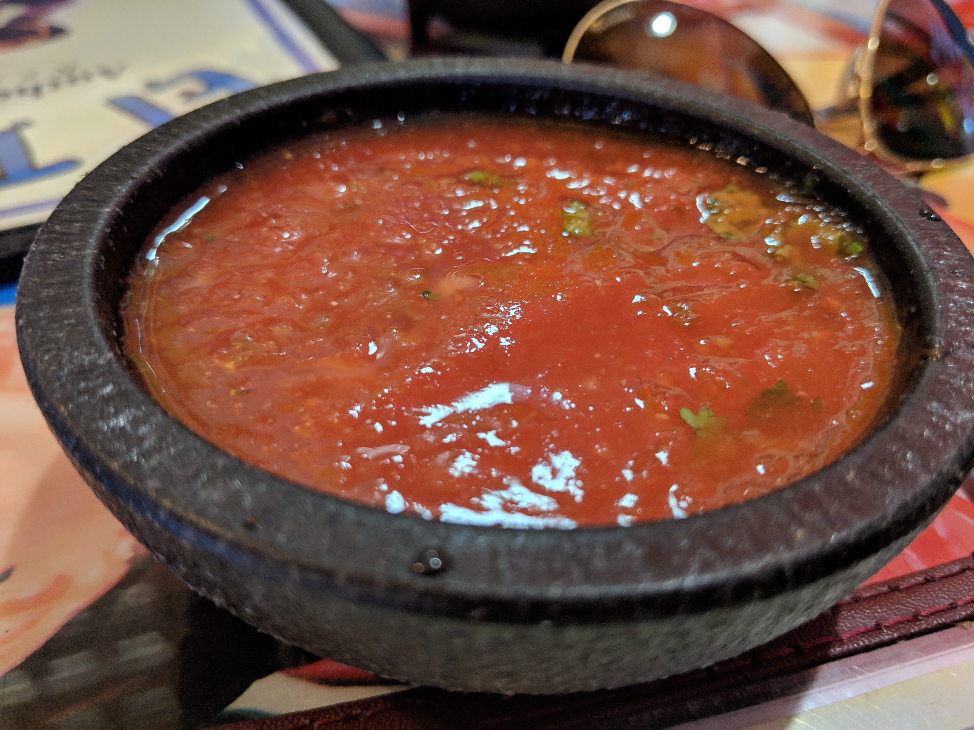 The free salsa at El Tapatio Authentic Mexican Restaurant.