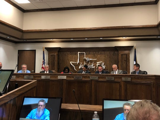 In this file photo, council members conduct a regular Wichita Falls City Council meeting. This month's meeting will be at 8:30 a.m. Tuesday.