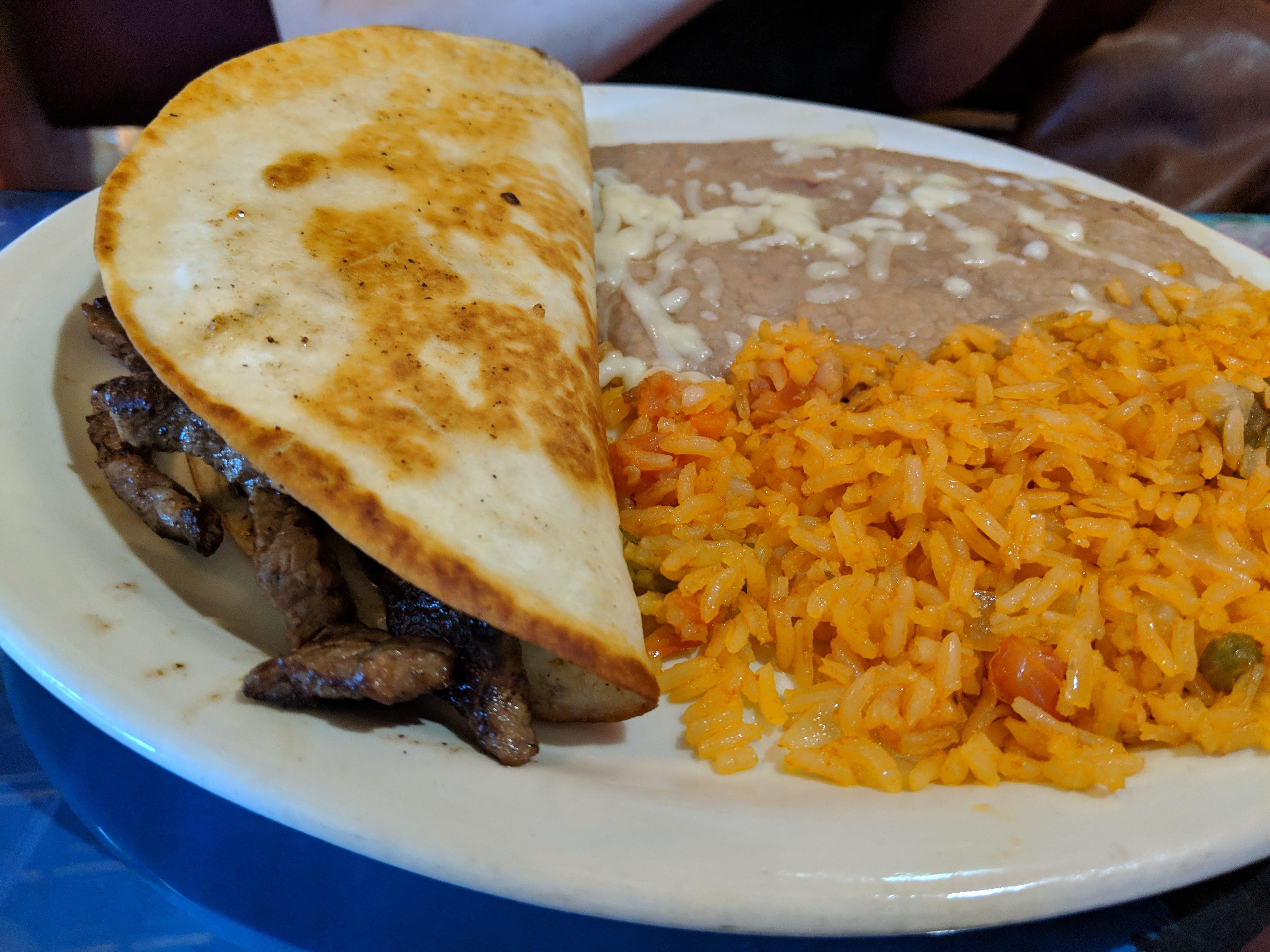 The lunch quesadilla fajita at El Tapatio Authentic Mexican Restaurant.