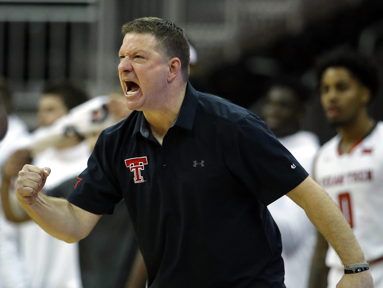 Texas Tech head coach Chris Beard yells at his players during the second half of an NCAA college basketball game against USC, Monday, Nov. 19, 2018, in Kansas City, Mo. Texas Tech won 78-63.