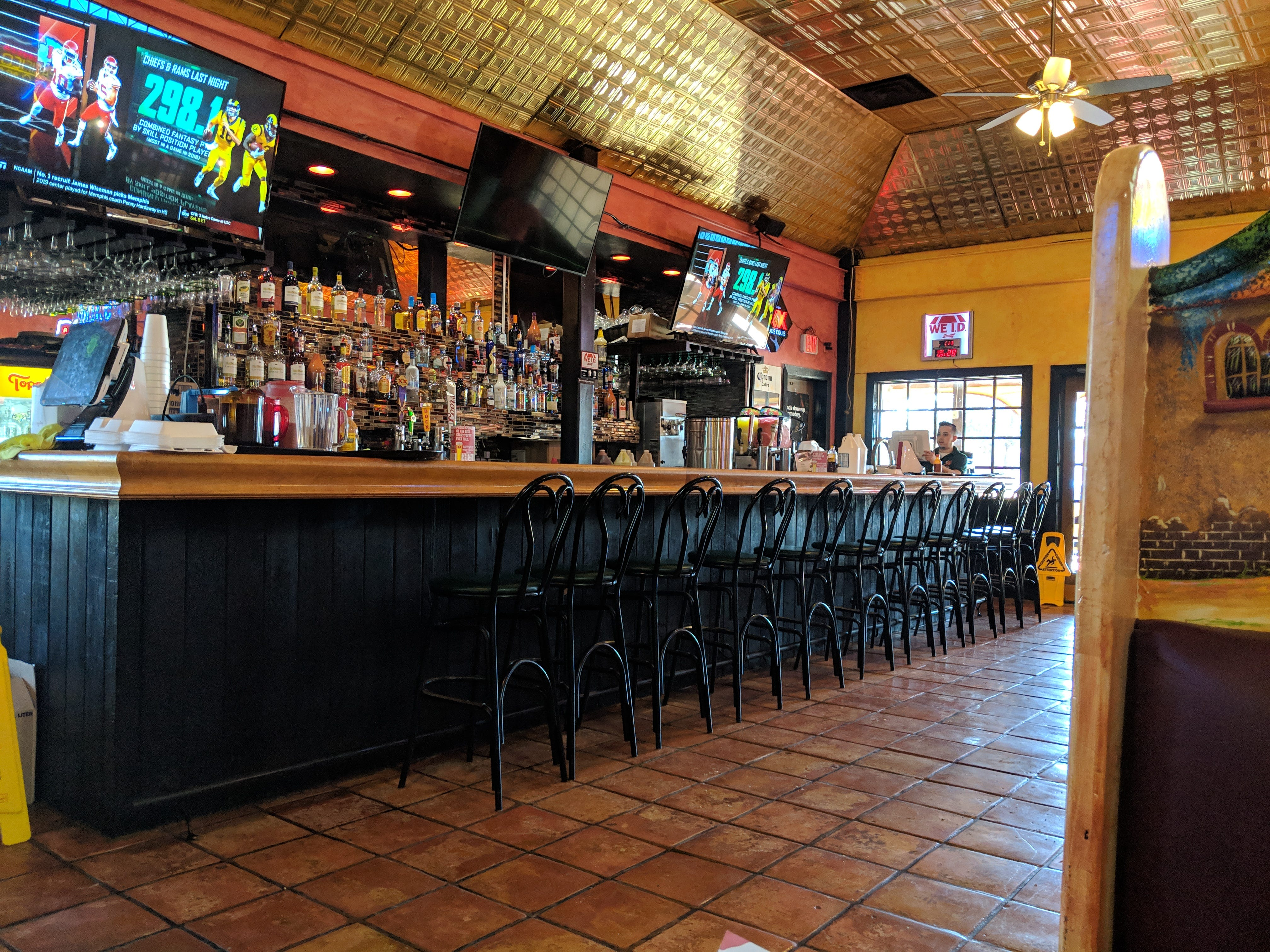 The bar area inside El Tapatio Authentic Mexican Restaurant.