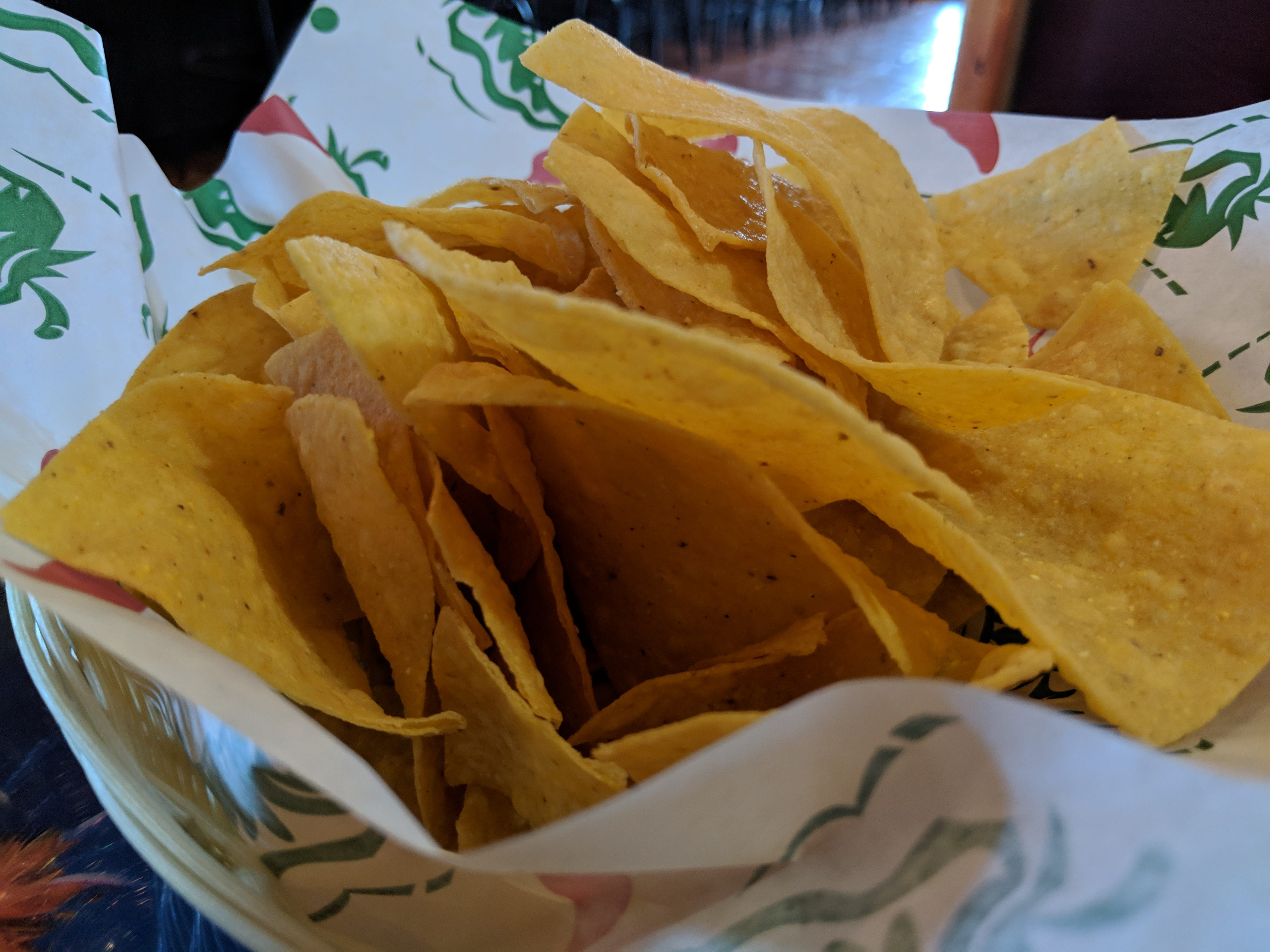The free chips at El Tapatio Authentic Mexican Restaurant.