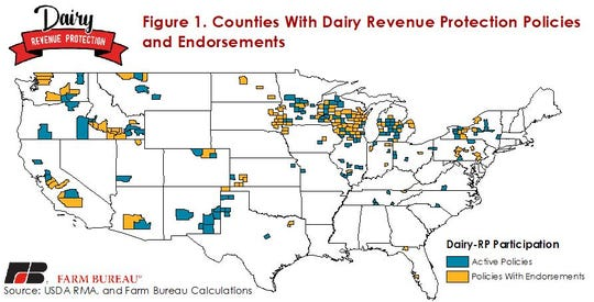 Counties with active Dairy-RP policies and/or an endorsement and the pounds of milk covered in each state.
