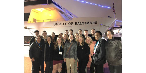 The UW-River Falls group at the SASES Conference prior to the awards banquet which was a dinner cruise on the Patapsco River.