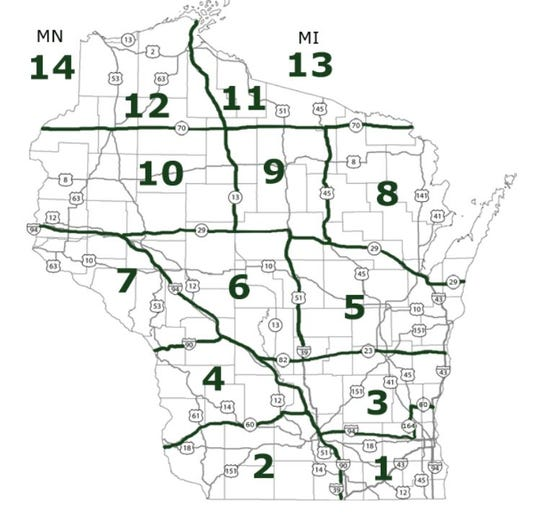 Regional map for Wisconsin Christmas tree farms