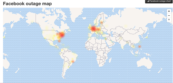 Down Detector shows Facebook issues in the U.S. and Europe.