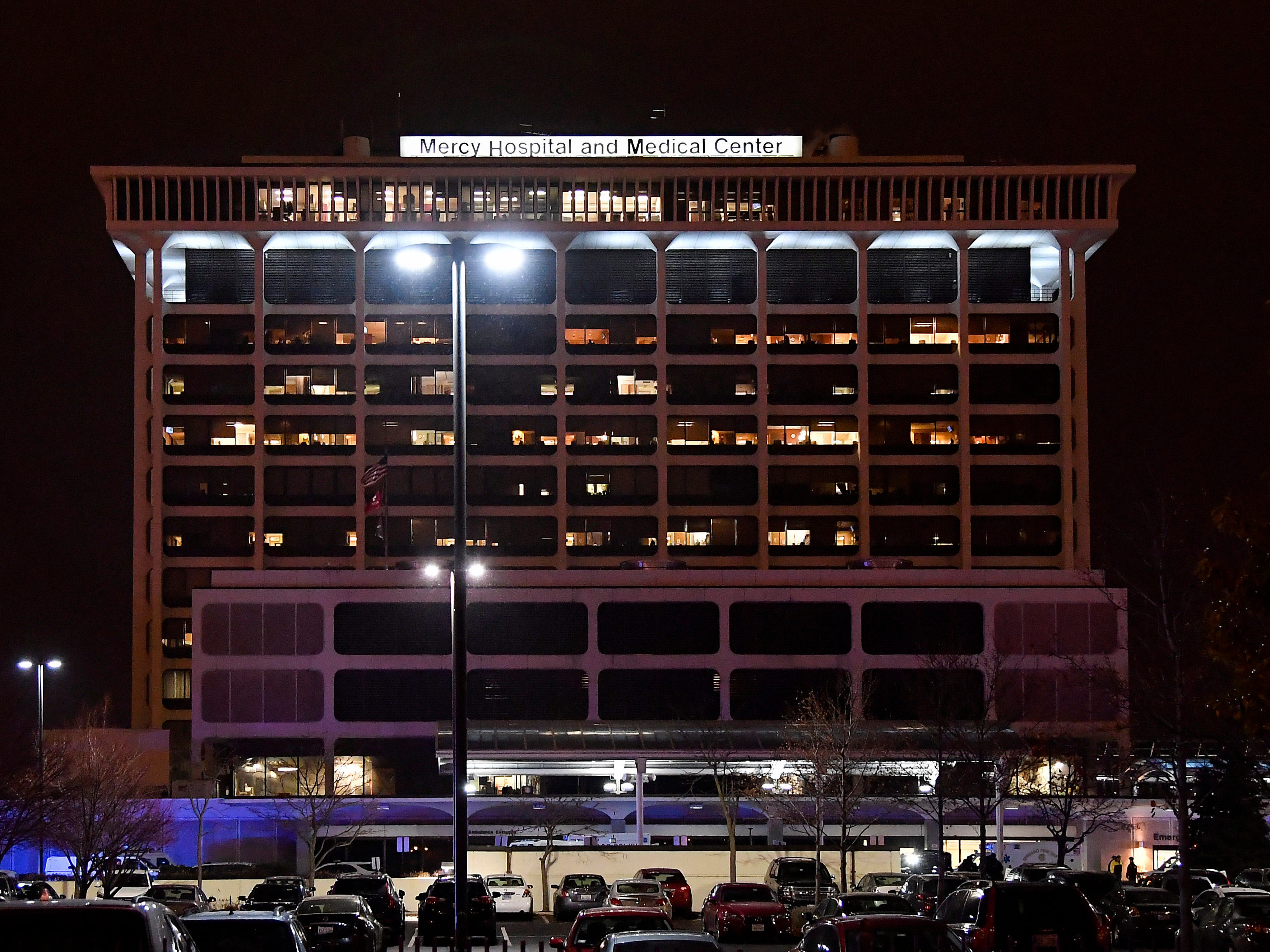 Mercy Hospital and Medial Center in Chicago on Nov. 18, 2018, after a shooting that left four dead.