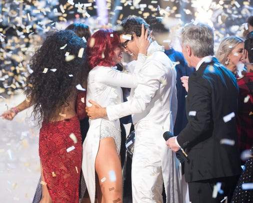 Sharna Burgess and Bobby Bones right after winning