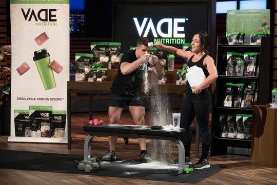 """Joe and Megan Johnson, a husband and wife team from East Lansing pitched their dissolvable protein pack product on ABC's """"Shark Tank"""" on Nov. 25."""