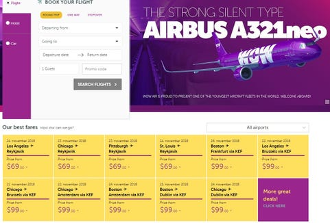 WOW Air's website showed fares as low as $69 one way to Iceland on Nov. 20, 2018, as part of a sale pegged to Black Friday.