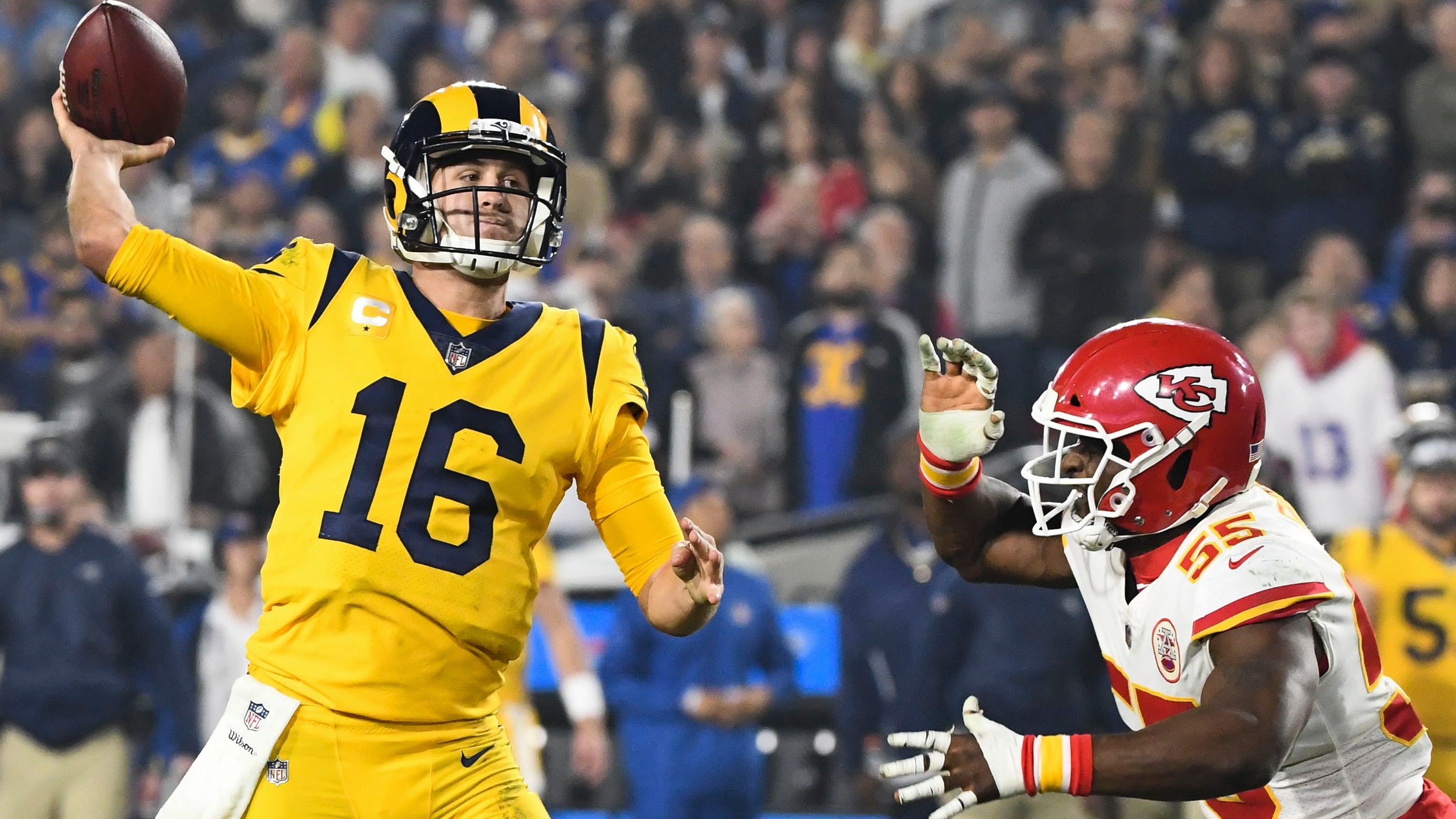 Jared Goff threw for 4 TDs and 413 yards in the win.